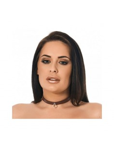 Collar Fino Cuero Marron 15 cm