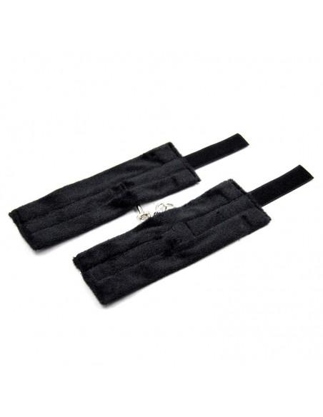 Esposas de Tela con Velcro para Munecas con Pelo Largo Negro