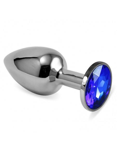 Plug Anal Plateado Rosebud Classic con Joya Azul Oscuro Talla S