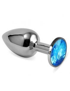 Plug Anal Plateado Rosebud Classic con Joya Azul Talla S