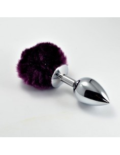 Plug Anal de Metal con Pompon Purpura Talla L
