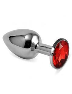 Plug Anal Plateado Rosebud Classic con Joya Rojo Talla S