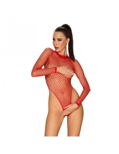 Long Bodysuit de Rejilla Corte Amplio Rojo