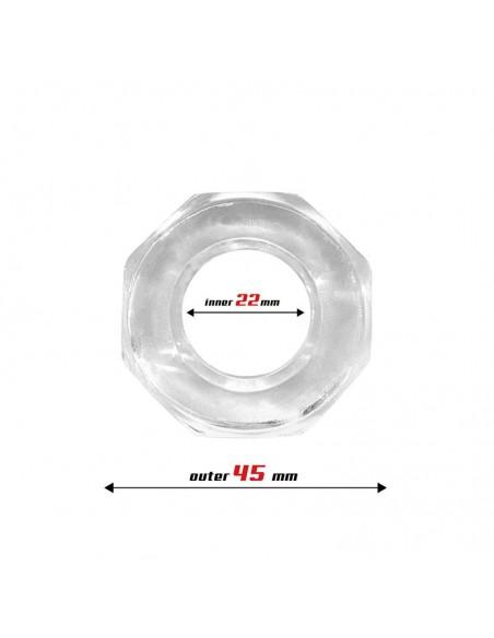 Anillo para el Pene Super Flexible Poligonal 22 cm Transparente